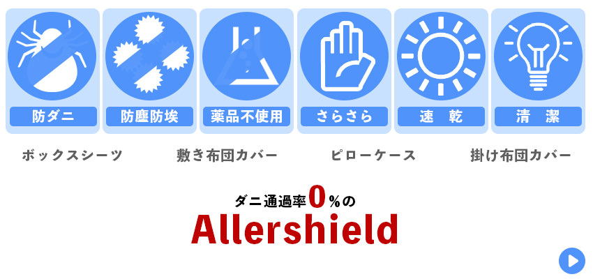 防ダニ 防塵 速乾 清潔 アレルギー 花粉症 対策 布団 アレルシールド