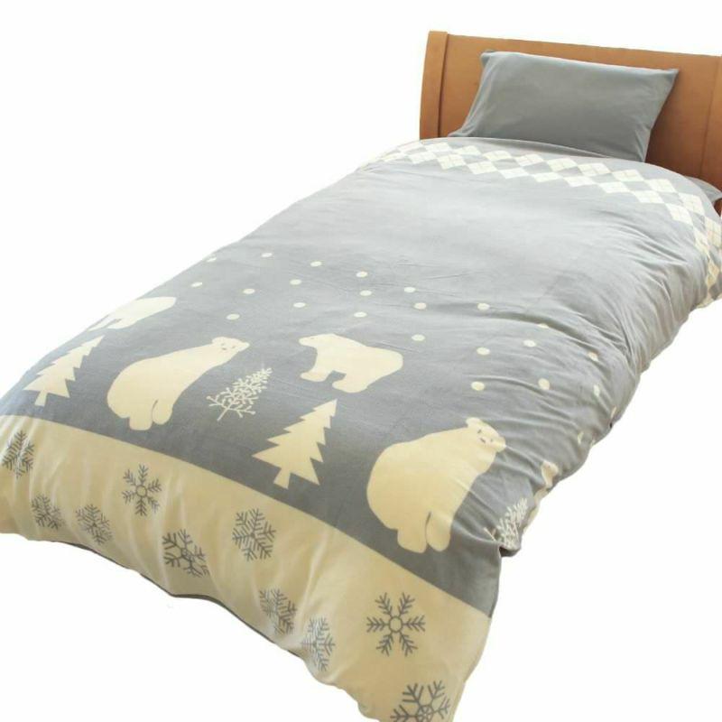 人気の暖かい掛け布団カバー ポーラーベア レッド