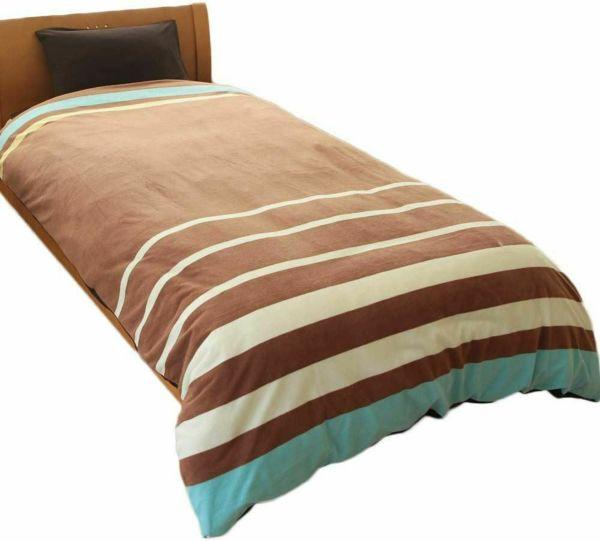 人気の暖かい掛け布団カバー 限定カラー ボーダー グレー シングル